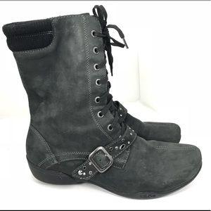 Taos cadette Leather Lace Up Combat Boots 9 Black